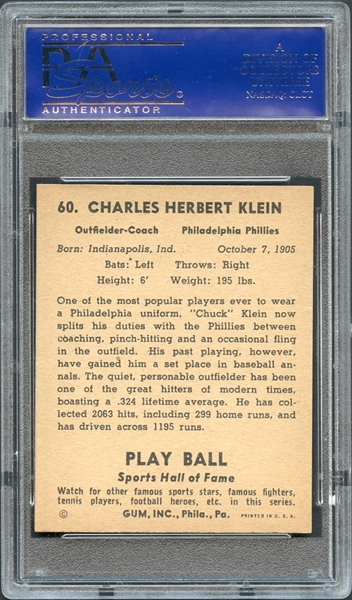 1941 Play Ball #60 Chuck Klein PSA 8 NM-MT