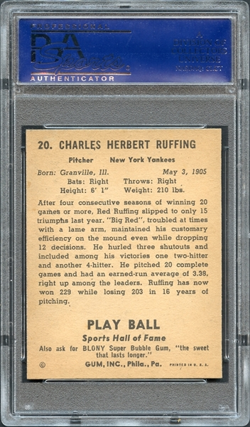 1941 Play Ball #20 Red Ruffing PSA 8 NM-MT