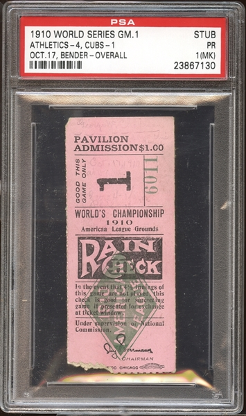 1910 World Series Game 1 Ticket Stub PSA 1 PR (MK)