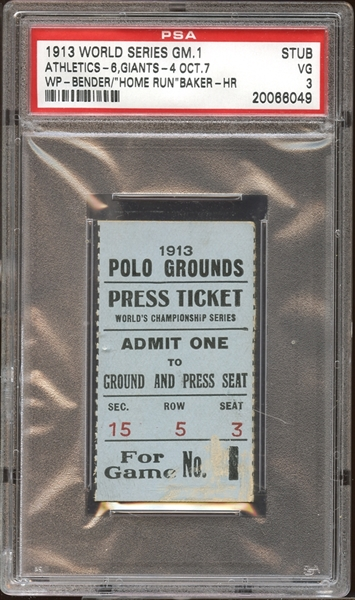 1913 World Series Game 1 Ticket Stub PSA 3 VG