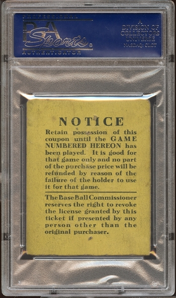 1923 World Series Game 2 Ticket Stub Babe Ruth World Series Home Runs #2 and 3 PSA AUTHENTIC