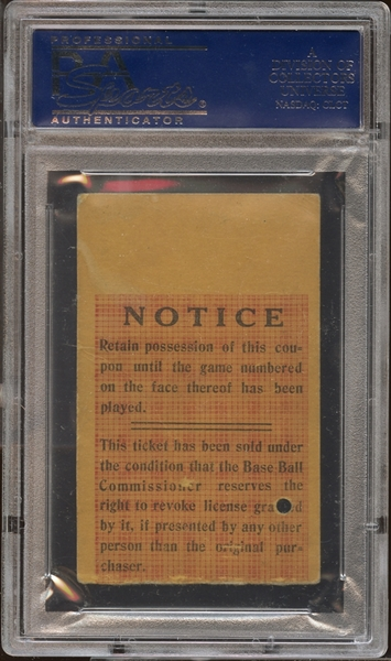 1925 World Series Game 7 Ticket Stub PSA AUTHENTIC