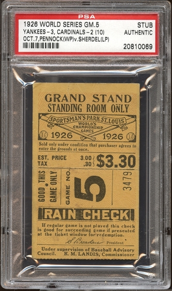 1926 World Series Game 5 Ticket Stub PSA AUTHENTIC