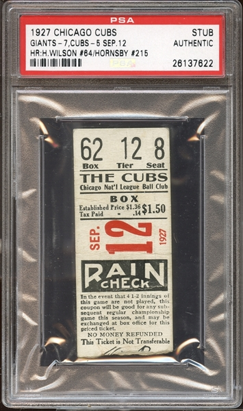 1927 Chicago Cubs Ticket Stub Hack Wilson (64) and Rogers Hornsby (215) Home Runs PSA AUTHENTIC