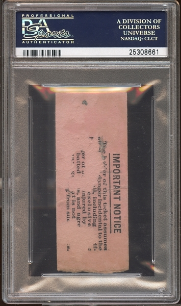 1929 New York Yankees Ticket Stub Lou Gehrig Home Run #129 Game #631 and 632 PSA AUTHENTIC