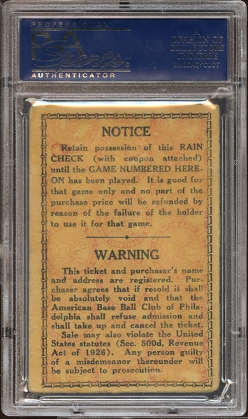1929 World Series Game 5 Ticket Stub PSA AUTHENTIC