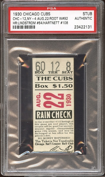 1930 Chicago Cubs Ticket Stub Fred Lindstrom (64) and Gabby Hartnett (108) Home Runs PSA AUTHENTIC