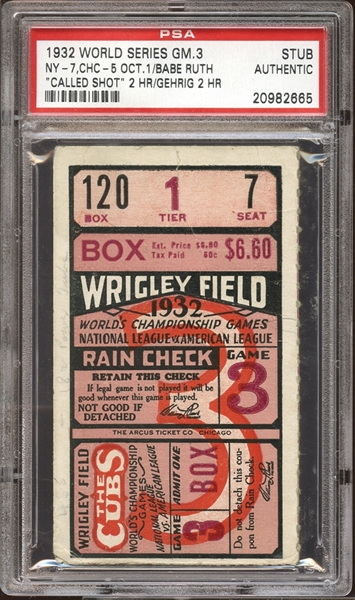1932 World Series Game 3 Ticket Stub Babe Ruth Called Shot PSA AUTHENTIC