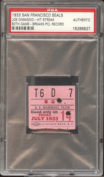1933 San Francisco Seals Ticket Stub Joe DiMaggio 50th Game in Hitting Streak Breaks PCL Record PSA AUTHENTIC