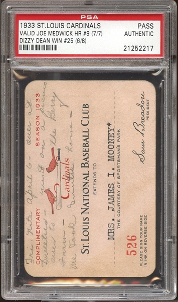 1933 St. Louis Cardinals Sportsmans Park Season Pass PSA AUTHENTIC