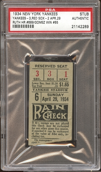 1934 New York Yankees Ticket Stub Babe Ruth Home Run #689 PSA AUTHENTIC