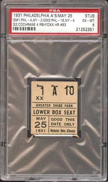 1931 Philadelphia A's Ticket Stub Jimmie Foxx Home Run #93 PSA AUTHENTIC