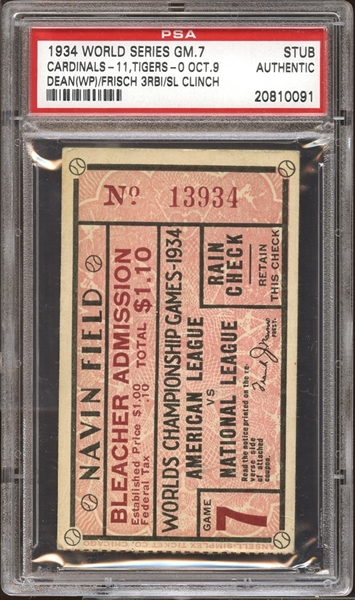 1934 World Series Game 7 Ticket Stub PSA AUTHENTIC