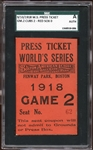 1918 World Series Game 2 Press Ticket SGC AUTHENTIC