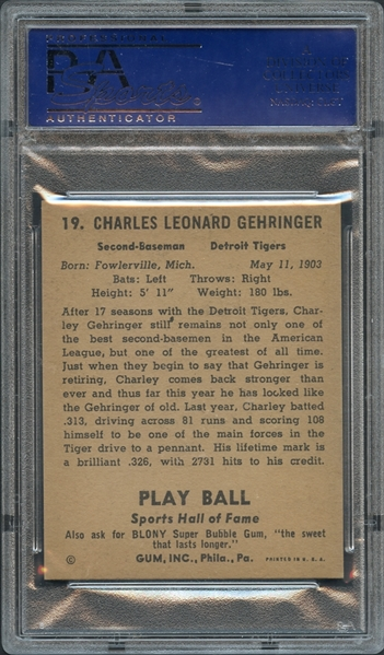 1941 Play Ball #19 Charley Gehringer PSA 8 NM-MT