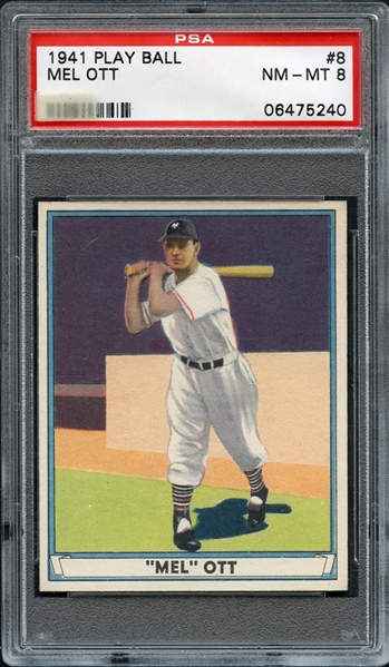 1941 Play Ball #8 Mel Ott PSA 8 NM-MT