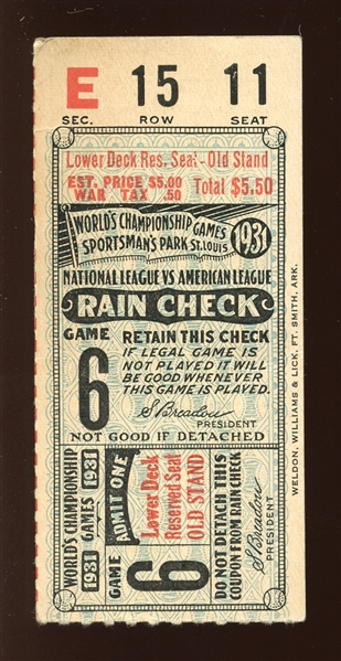 1931 World Series Game 6 Ticket Stub