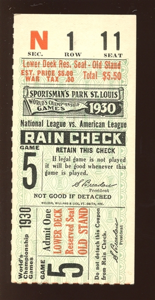 1930 World Series Game 5 Ticket Stub Jimmie Foxx Home Run