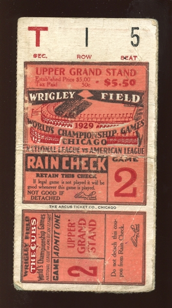1929 World Series Game 2 Ticket Stub Jimmie Foxx and Al Simmons Home Runs