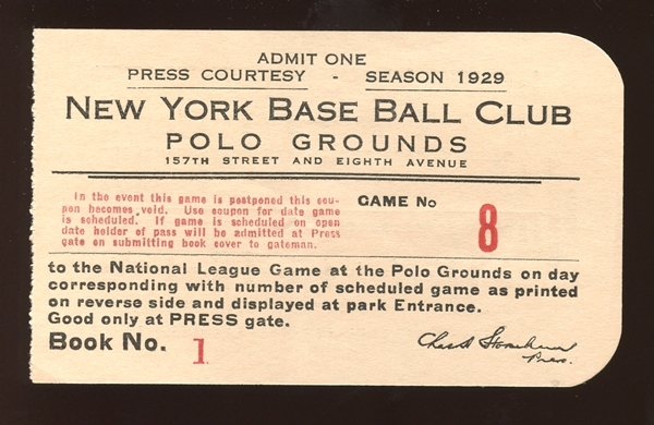 1929 New York Giants Polo Grounds Game 8 Press Pass