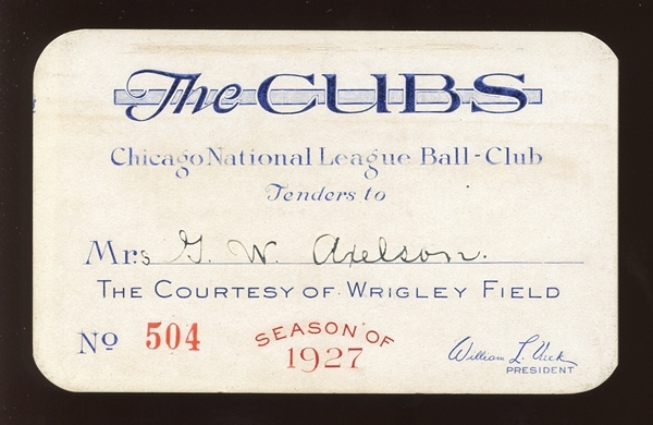 1927 Chicago Cubs Wrigley Field Season Pass