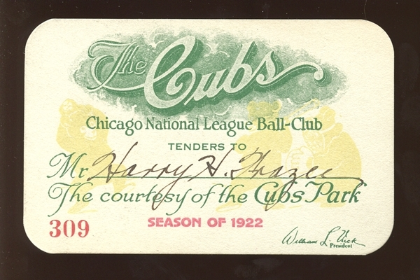 1922 Chicago Cubs Cubs Park Season Pass Belonging to Harry Frazee