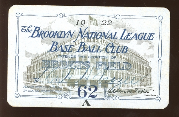 1922 Brooklyn Robins Ebbets Field Season Pass Belonging to Harry Frazee