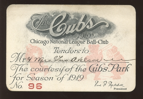 1919 Chicago Cubs Cubs Park Season Pass