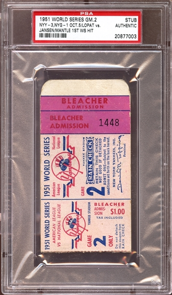 1951 World Series Game 2 Ticket Stub Mickey Mantle 1st World Series Hit PSA AUTHENTIC