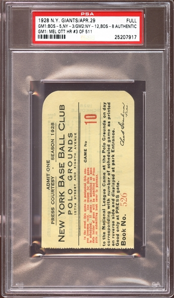 1928 New York Giants Full Ticket Mel Ott Home Run #3 PSA AUTHENTIC