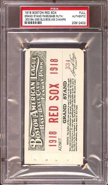 1918 World Champion Boston Red Sox Fenway Park Season Pass PSA AUTHENTIC