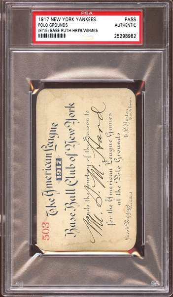 1917 New York Yankees Polo Grounds Season Pass PSA AUTHENTIC