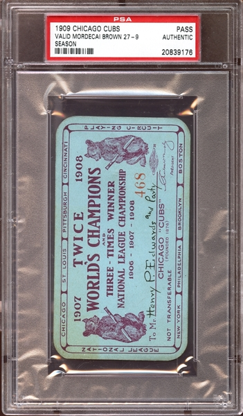 1909 Chicago Cubs Season Pass PSA AUTHENTIC