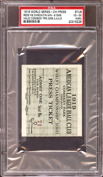 1919 World Series Chicago Comiskey Park Press Pass Stub PSA 4 VG/EX (MK)