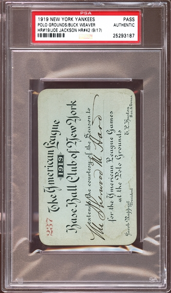 1919 New York Yankees Polo Grounds Season Pass PSA AUTHENTIC