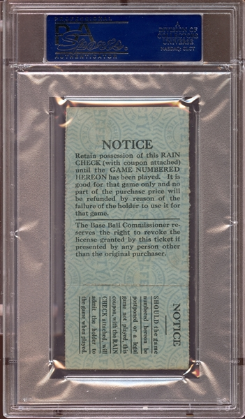 1925 World Series Game 4 Ticket Stub PSA AUTHENTIC
