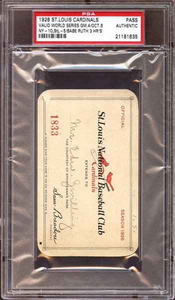 1926 St. Louis Cardinals Sportsman's Park Season Pass PSA AUTHENTIC