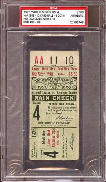1926 World Series Game 4 Ticket Stub Babe Ruth 3 Home Runs PSA AUTHENTIC