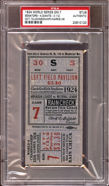 1924 World Series Game 7 Ticket Stub PSA AUTHENTIC