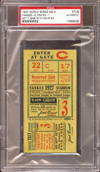 1927 World Series Game 3 Ticket Stub Babe Ruth Home Run PSA AUTHENTIC