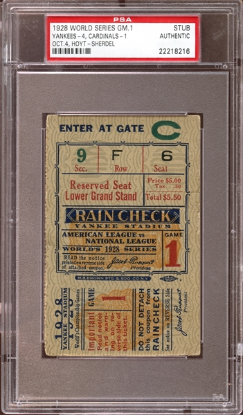 1928 World Series Game 1 Ticket Stub PSA AUTHENTIC