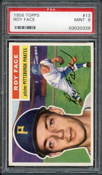 1956 Topps #13 Roy Face PSA 9 MINT