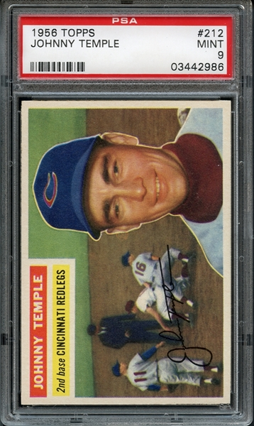 1956 Topps #212 Johnny Temple PSA 9 MINT