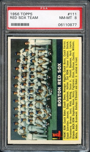 1956 Topps #111 Red Sox Team PSA 8 NM-MT
