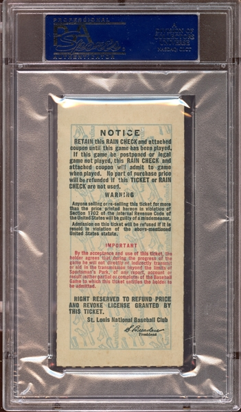 1943 World Series Game 5 Ticket Stub PSA AUTHENTIC