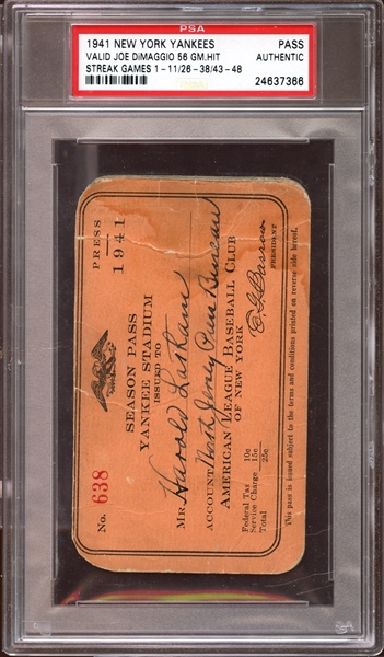 1941 New York Yankees Season Press Pass PSA AUTHENTIC