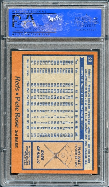 1978 Topps #20 Pete Rose PSA 10 GEM MT