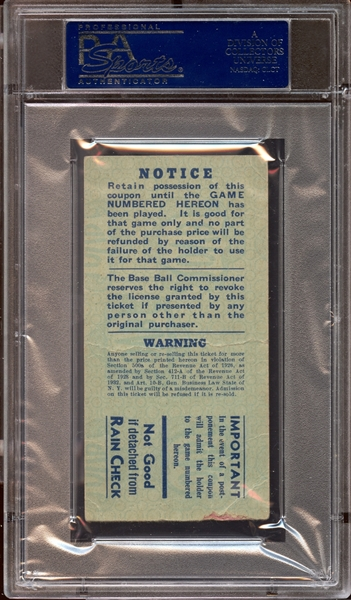 1937 World Series Game 4 Ticket Stub Lou Gehrig 10th and Final World Series Home Run PSA 1 PR