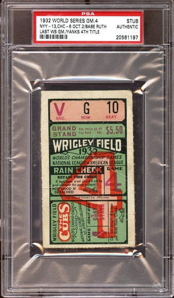 1932 World Series Game 4 Ticket Stub Babe Ruth Last World Series Game PSA AUTHENTIC