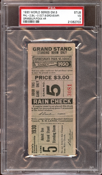 1930 World Series Game 5 Ticket Stub Jimmie Foxx Home Run PSA 3 VG